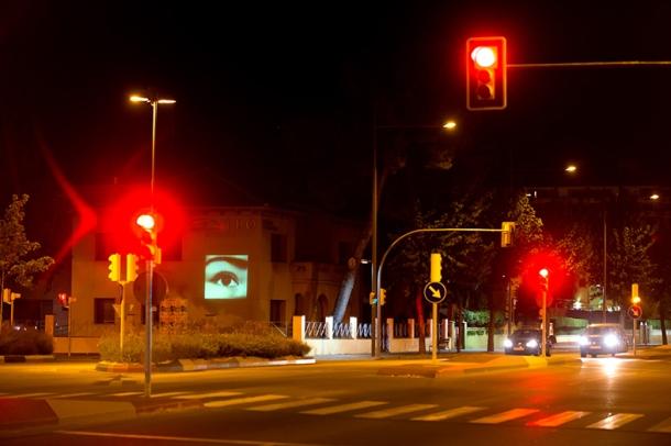ELMUR Videoinstallation in Lleida. Photo by Jordi V. Pou